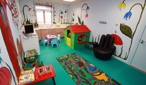 The deicated children's waiting room